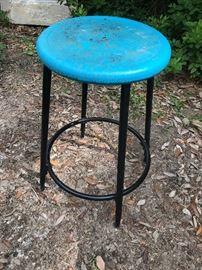 Heavy old vintage iron stool.