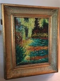 Beautiful original art in gold frame.