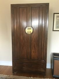 Oriental armoire. Solid brass hardware. 5 drawers and 4 compartments. Pristine condition! $1200