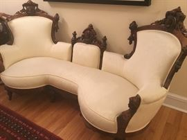 Rare Gorgeous 1850 Victorian loveseat. Intricate carvings and newly upholstered. $2200