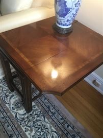 Beautiful drop leaf inlaid table $200