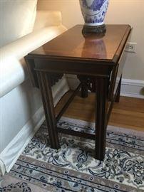Drop leaf mahogany table. $395