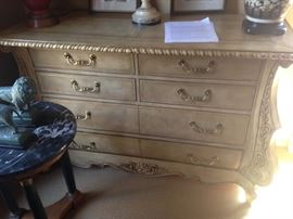 •Leather covered bombe French dresser—BUY IT NOW--$425—sophia.dubrul@gmail.com