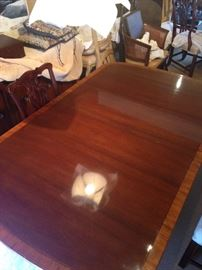 """•Mahogany Pedestal dining table with 3 leaves—76""""- 136"""" extended—BUY IT NOW--$850—sophia.dubrul@gmail.com"""