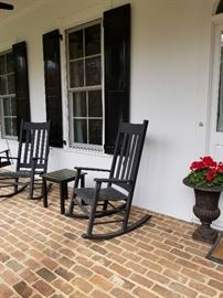 Outdoor rocking chairs.