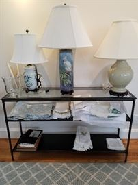 VINTAGE linens and lamps. ( table not for sale).