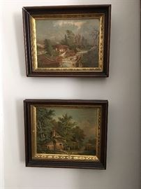 Pair of Early lithographs in gold embossed walnut frames.