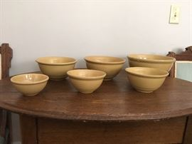 Antique nesting set of six yellowware bowls!