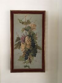 1900's circa oil on canvas depicting cluster of grapes; well executed.