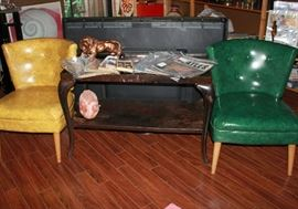 Kroehler slipper chairs and wood/iron frame industrial table