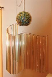 Curtis Jere  kinetic sculpture and ribbon Lucite spaghetti swag lamp