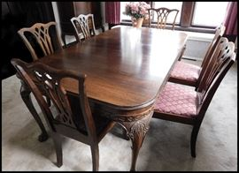 Paw foot table with six chairs