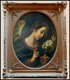 "Oil painting  ""Angel of the Annunciation"" Attributed or After Carlo Dolci, (1616-1686),  Baroque period painter from Italy."