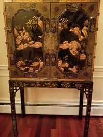 Magnificent Asian Cabinet with carved  ivory