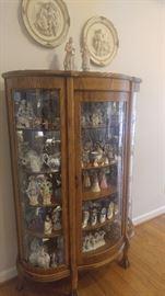 2 antique oak radius China cabinets both matching