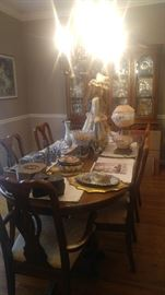 Gorgeous high-end dining room suit matching table chairs china cabinet and Buffet