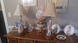 Large collection of Pinky and blue boy collectibles George and Martha Washington porcelain lamps
