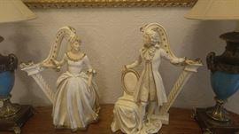 Large and beautiful George and Martha Washington chalkware statues