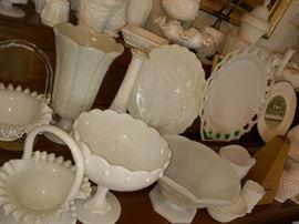 dozens of milk glass pieces