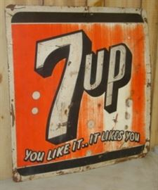 "26"" x 27"" Metal 1955 Embossed 7up Sign"