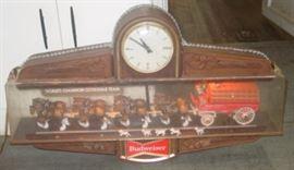 Lighted Budweiser Beer Clydesdale Clock - Lights Up & Clock Runs