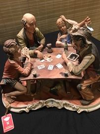 Large Capodimonte Card Player scene,  RARE , very Whimsical !!