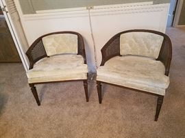 pair rattan back chairs