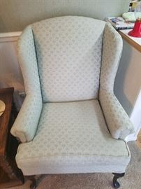 mint green wing chair