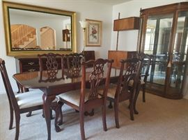 Bassett Chippendale Mahogany dining table and chairs, Bassett Queen Anne Sideboard, Curio Cabinet