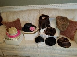 clean cream sofa and more hats