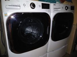 LG True Steam front load washer and dryer set w/base