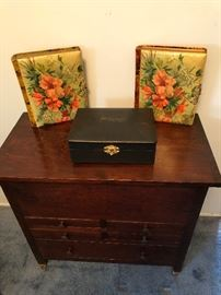 Interesting wooden chest, as lid lifts with three divided drawers. Antique photo albums