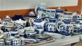 Large and lovely collection of blue willow china
