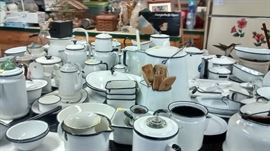 Large and lovingly collected Black and White Enamel collection