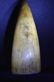 Authentic 1810-1820 Scrimshaw Sperm Whale's Tooth
