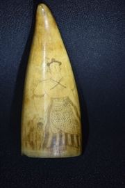 Authentic 1800's Scrimshaw Sperm Whale's Tooth