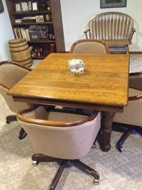 Antique Oak 5 legged table and 4 chairs