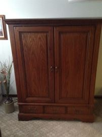 "Oak Entertainment Armoire  fits 43"" flatscreen"