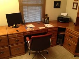 3 Desk office w/ 2 drawer file cabinet and hutch