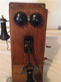 Solid Oak antique crank wall phone (Western Electric)