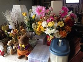 Assorted flowers and vases