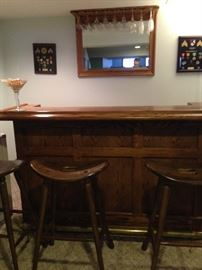Bar w/four stools and mirror w/glass holder