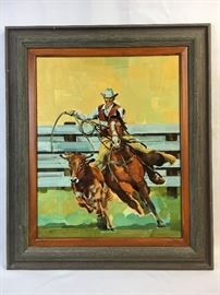 Frank Brave Oil painting Cowboy