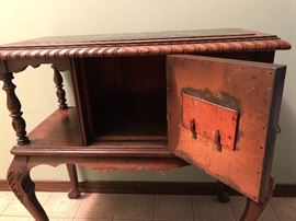 Antique Side Table with Cigar Hummidor