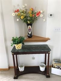Granite topped hall table.