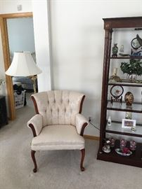 Whit brocade covered chair, comfortable and in very good condition