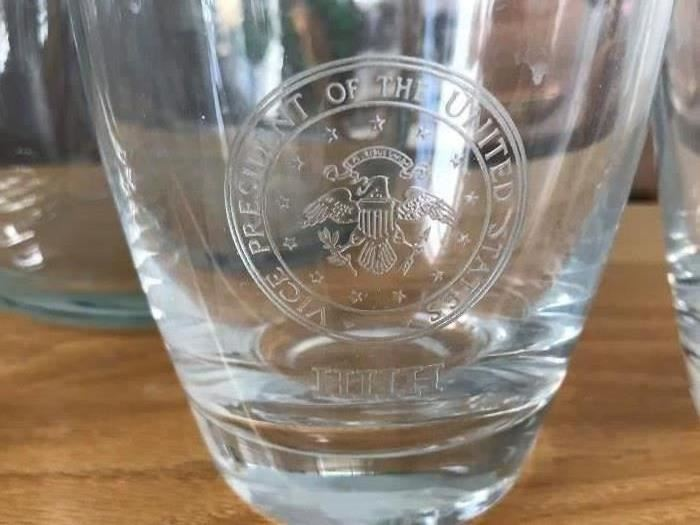 Set of 8 Fostoria, new old stock, in original box with the vice presidential seal and HHH inscribed on each glass
