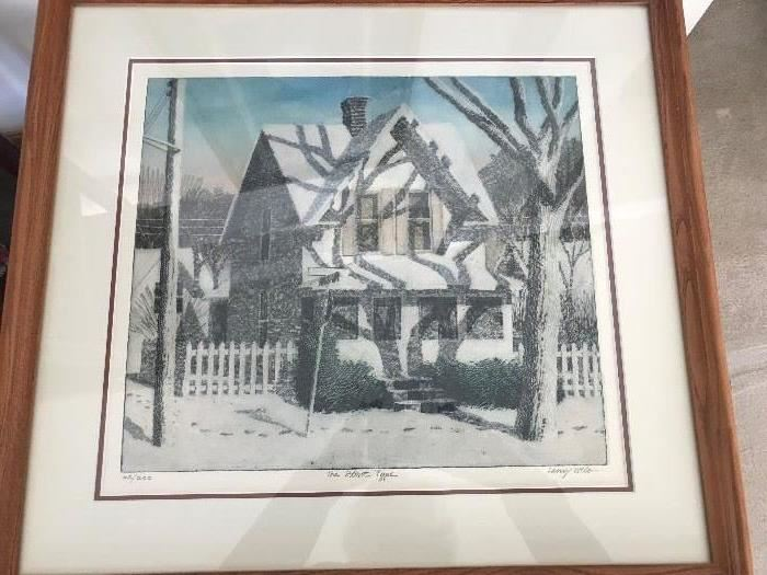 Framed and matted signed and numbered lithograph by Larry Welo