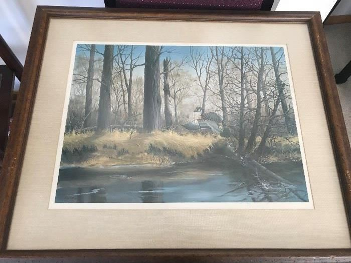 Framed, matted signed and numbered print by Caron
