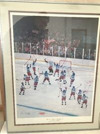Framed signed and numbered  print by Jerome Ryan autographed by Herb Brooks